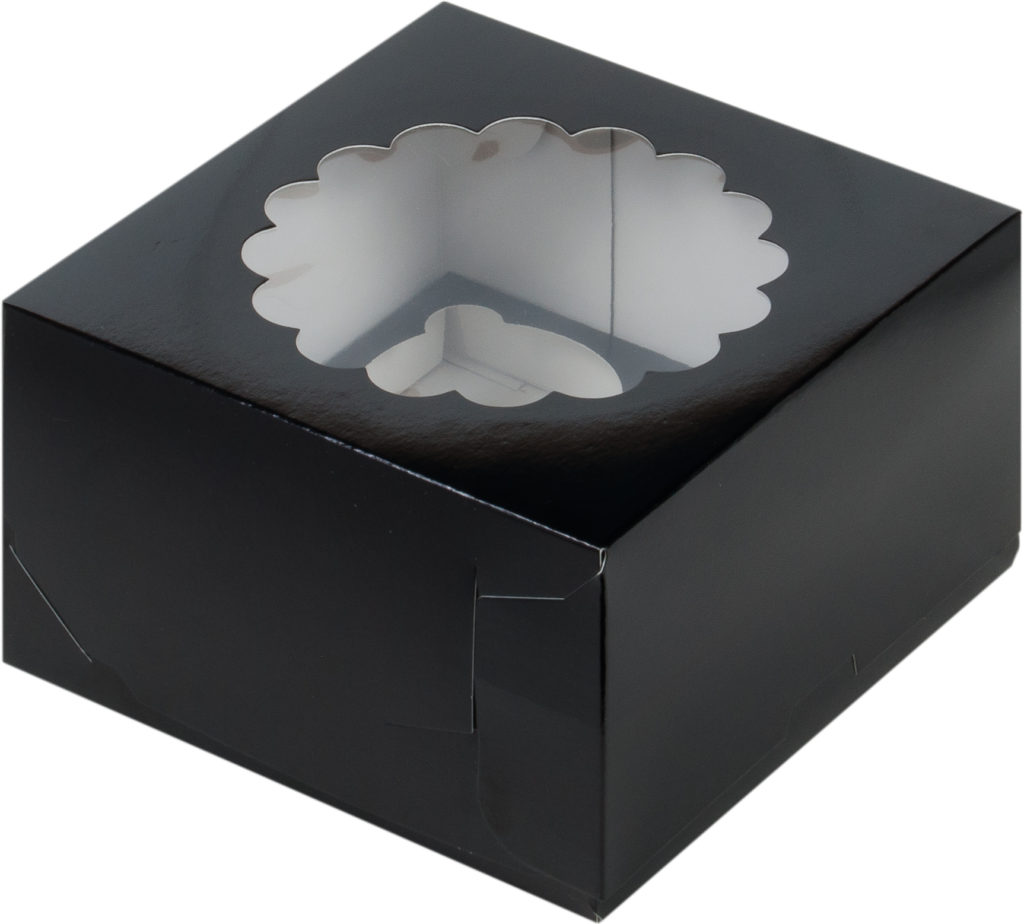 Коробка для 4-х капкейков с ложементом ЧЕРНАЯ, 160х160х100