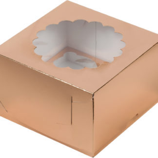 Коробка для 4-х капкейков с ложементом ЗОЛОТО, 160х160х100