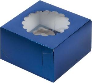 Коробка для 4-х капкейков с ложементом СИНЯЯ, 160х160х100