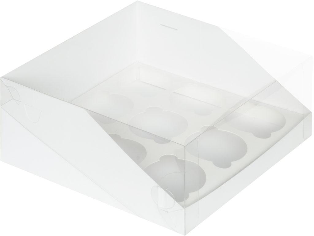 Коробка для 9 капкейков с увеличенным окошком с ложементом БЕЛАЯ, 235х235х110