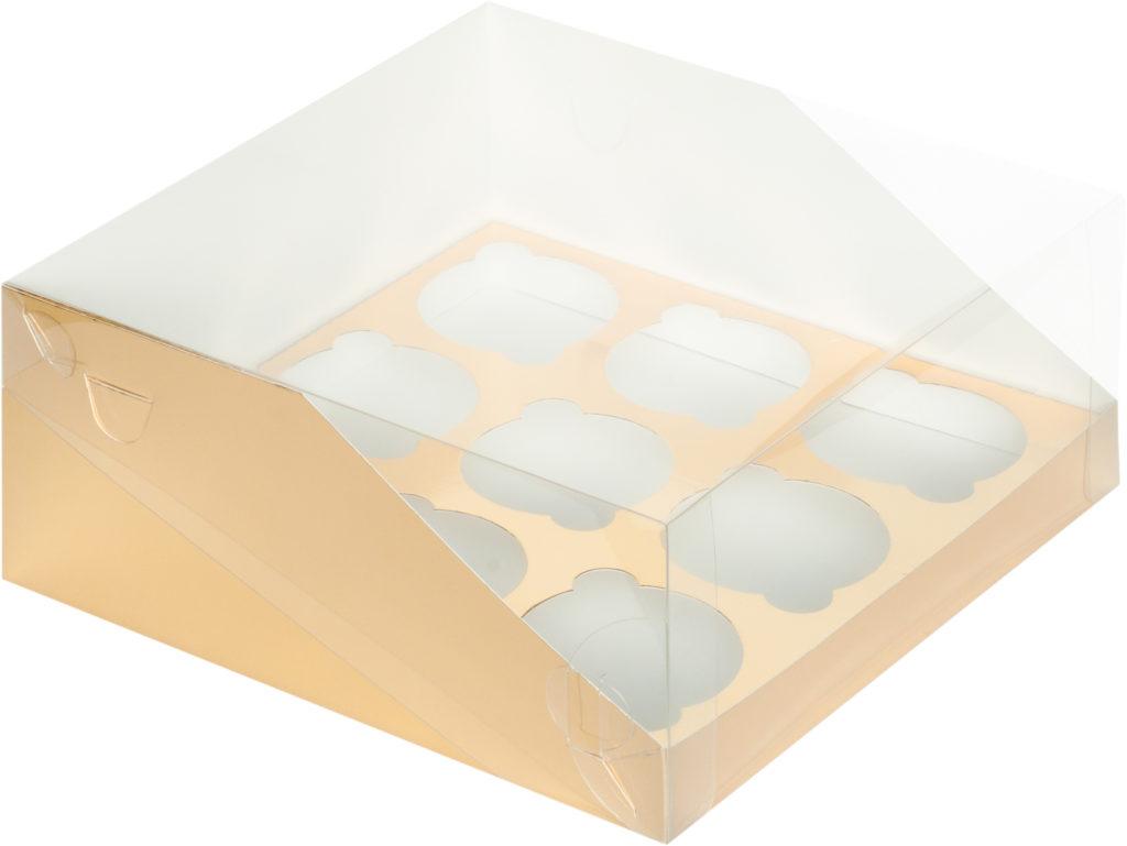 Коробка для 9 капкейков с увеличенным окошком с ложементом ЗОЛОТО, 235х235х110
