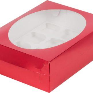 Коробка для 12 капкейков с ложементом КРАСНАЯ, 320х235х100