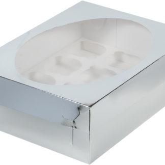Коробка для 12 капкейков с ложементом СЕРЕБРО, 320х235х100
