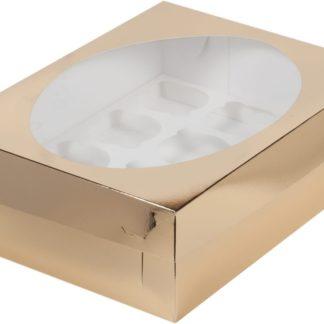 Коробка для 12 капкейков с ложементом ЗОЛОТО, 320х235х100
