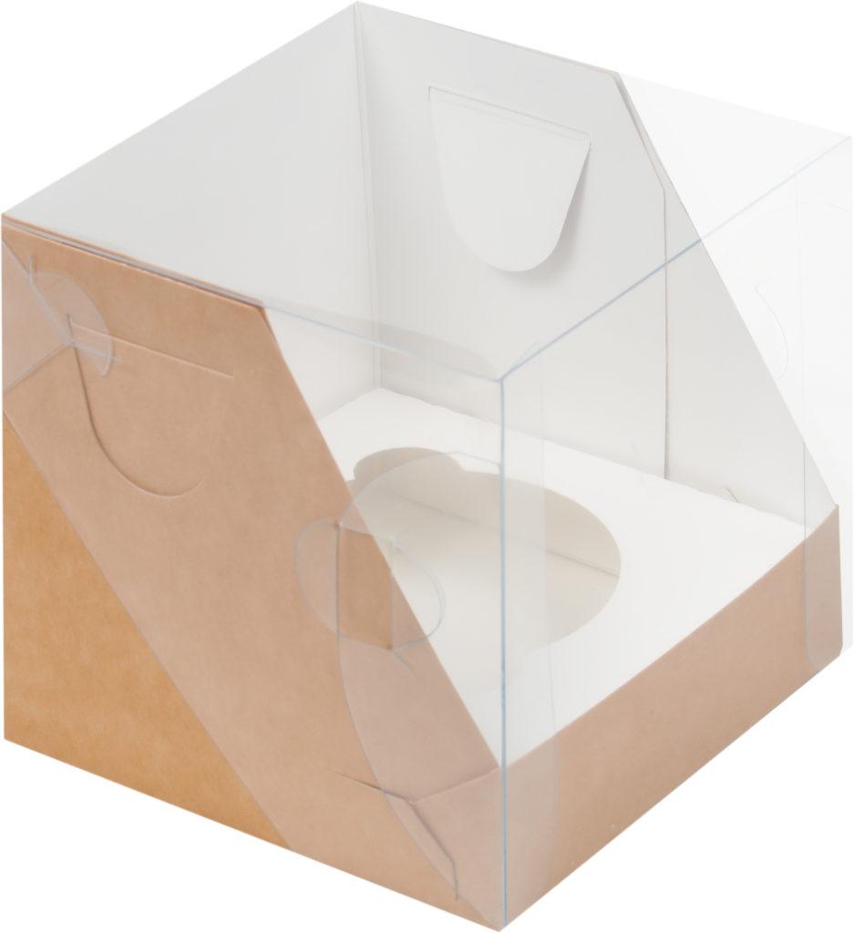 Коробка КРАФТ для 1 капкейка с ложементом, 100х100х100