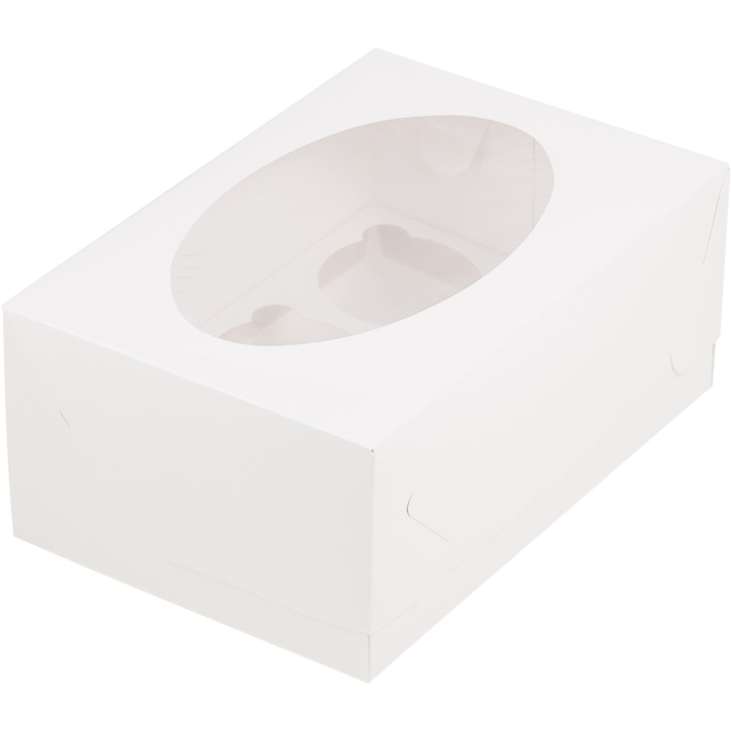 Коробка для 6 капкейков с ложементом БЕЛАЯ, 235х160х100