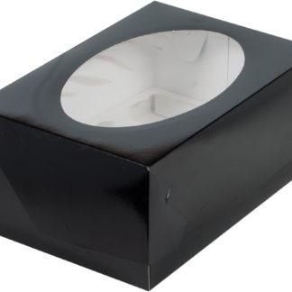 Коробка для 6 капкейков с ложементом ЧЕРНАЯ, 235х160х100