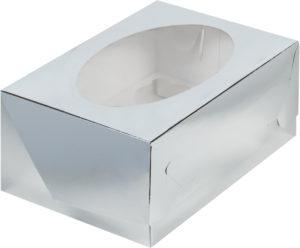 Коробка для 6 капкейков с ложементом СЕРЕБРО, 235х160х100