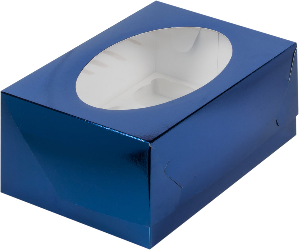 Коробка для 6 капкейков с ложементом СИНЯЯ, 235х160х100