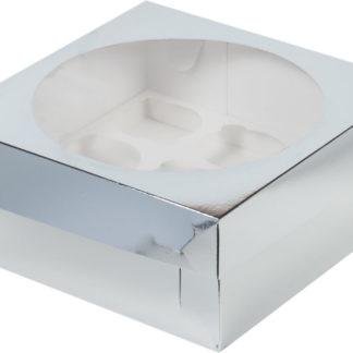 Коробка для 9 капкейков с ложементом СЕРЕБРО, 235х235х100