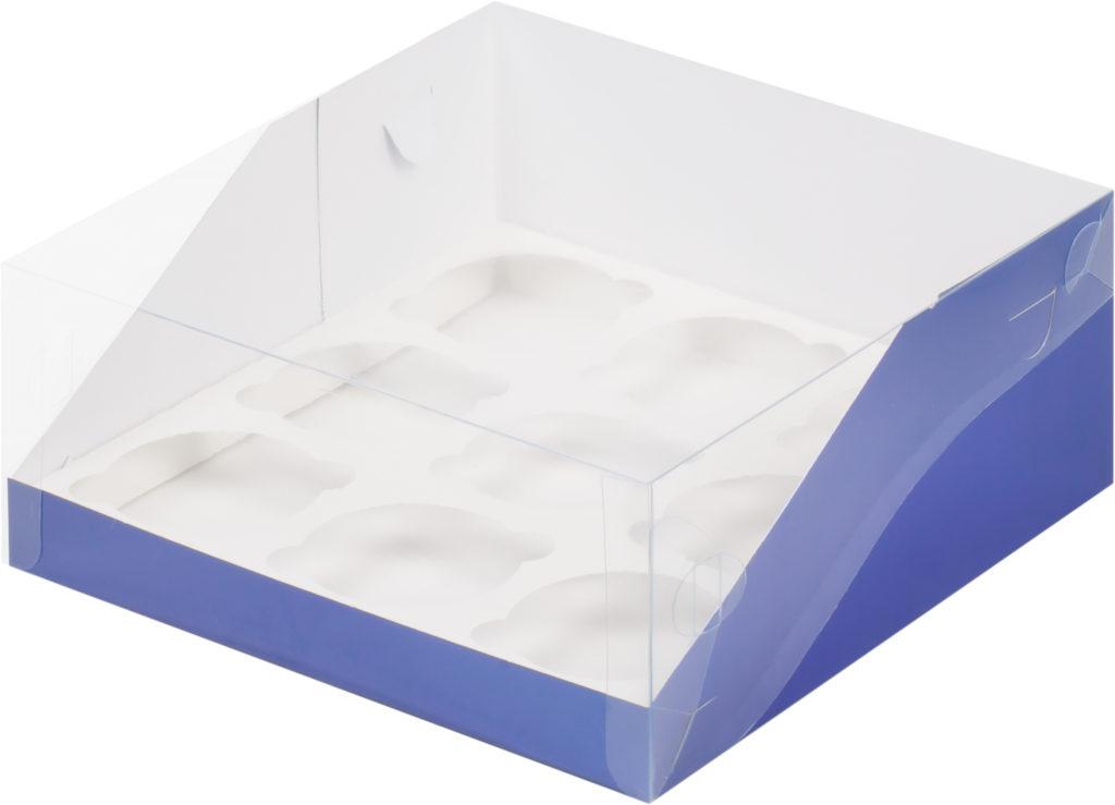 Коробка для 9 капкейков с увеличенным окошком с ложементом СИНЯЯ, 235х235х110