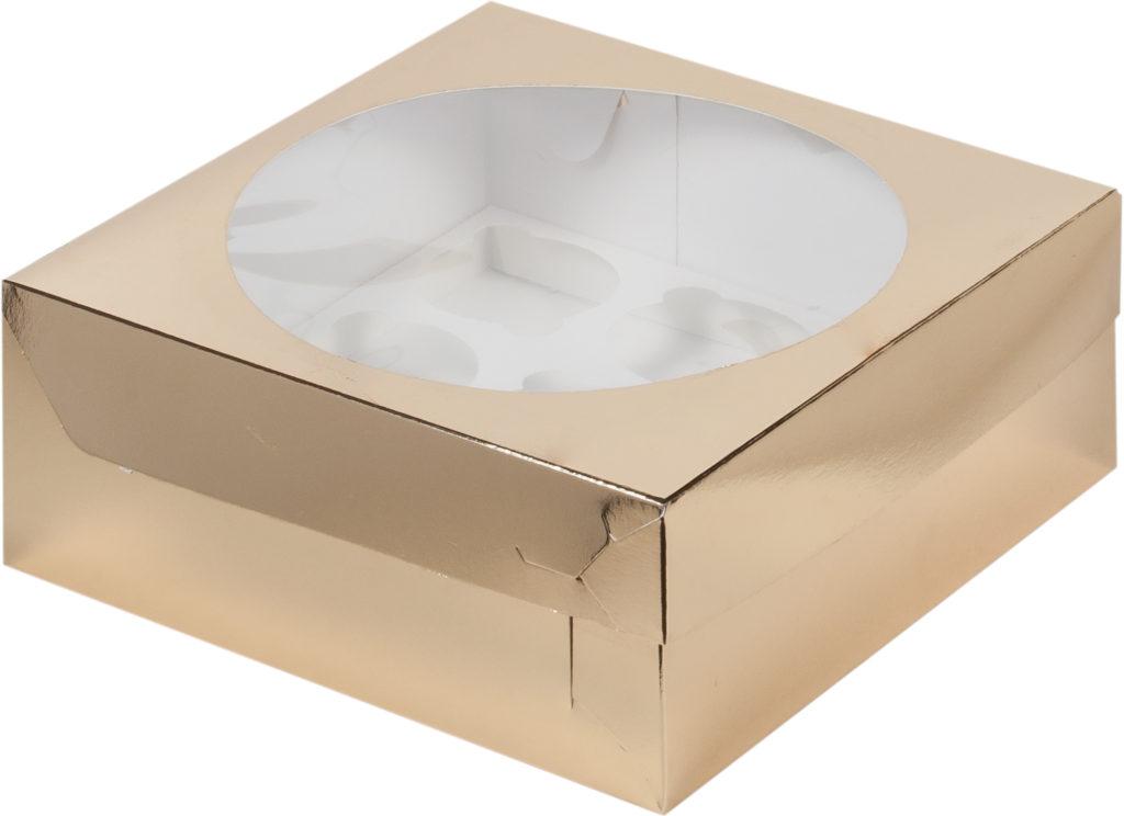 Коробка для 9 капкейков с ложементом ЗОЛОТО, 235х235х100