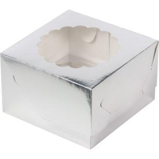 Коробка для 4-х капкейков с ложементом СЕРЕБРО, 160х160х100