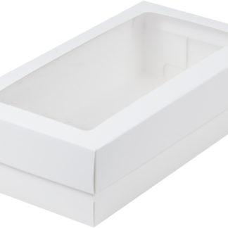 Коробка для кондитерских изделий с окошком, 210х100х55 БЕЛАЯ