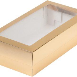 Коробка для кондитерских изделий с окошком, 210х100х55 ЗОЛОТО