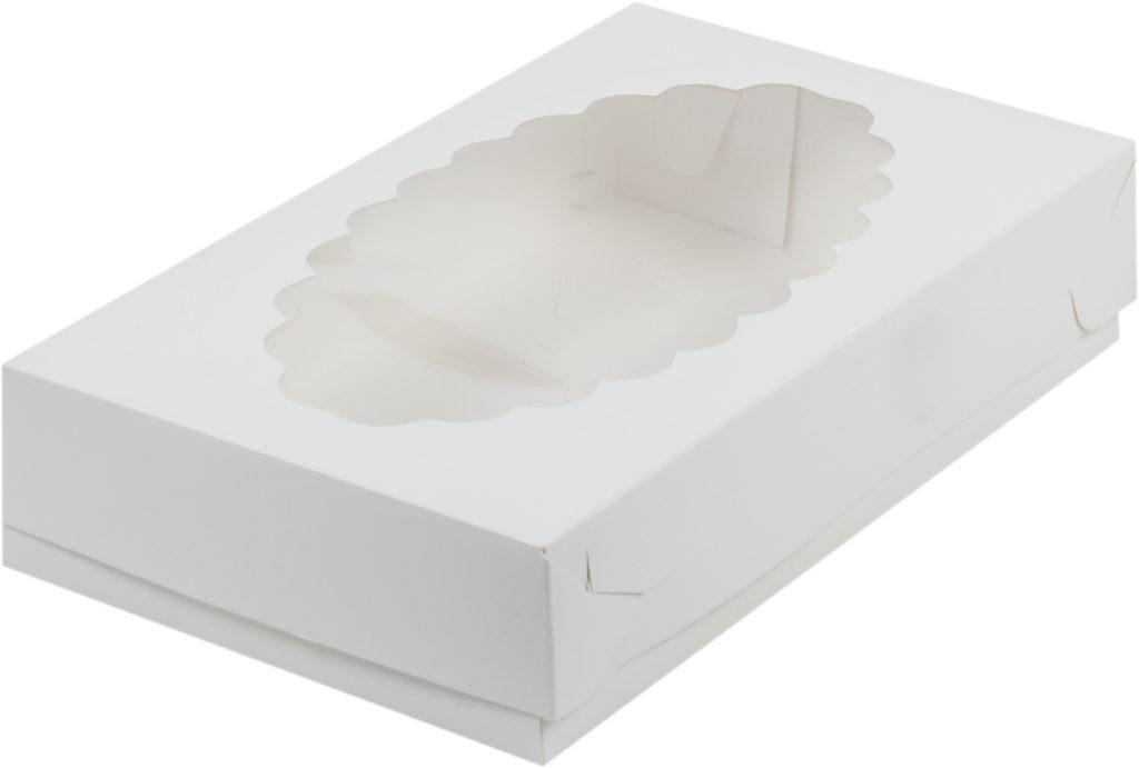 Коробка для эклеров с окном БЕЛАЯ, 240х140х50