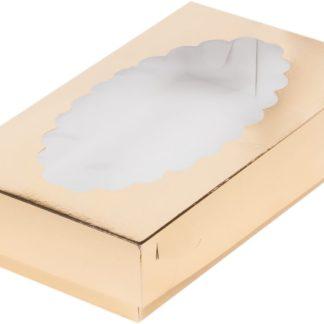 Коробка для эклеров с окном ЗОЛОТО, 240х140х50