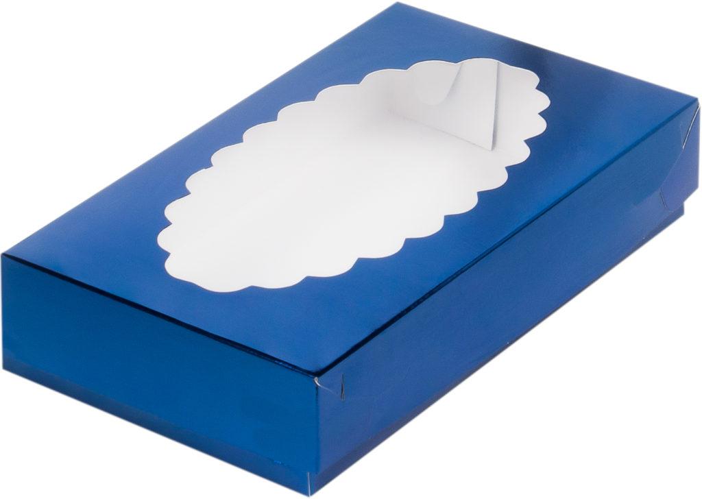 Коробка для эклеров с окном СИНЯЯ, 240х140х50