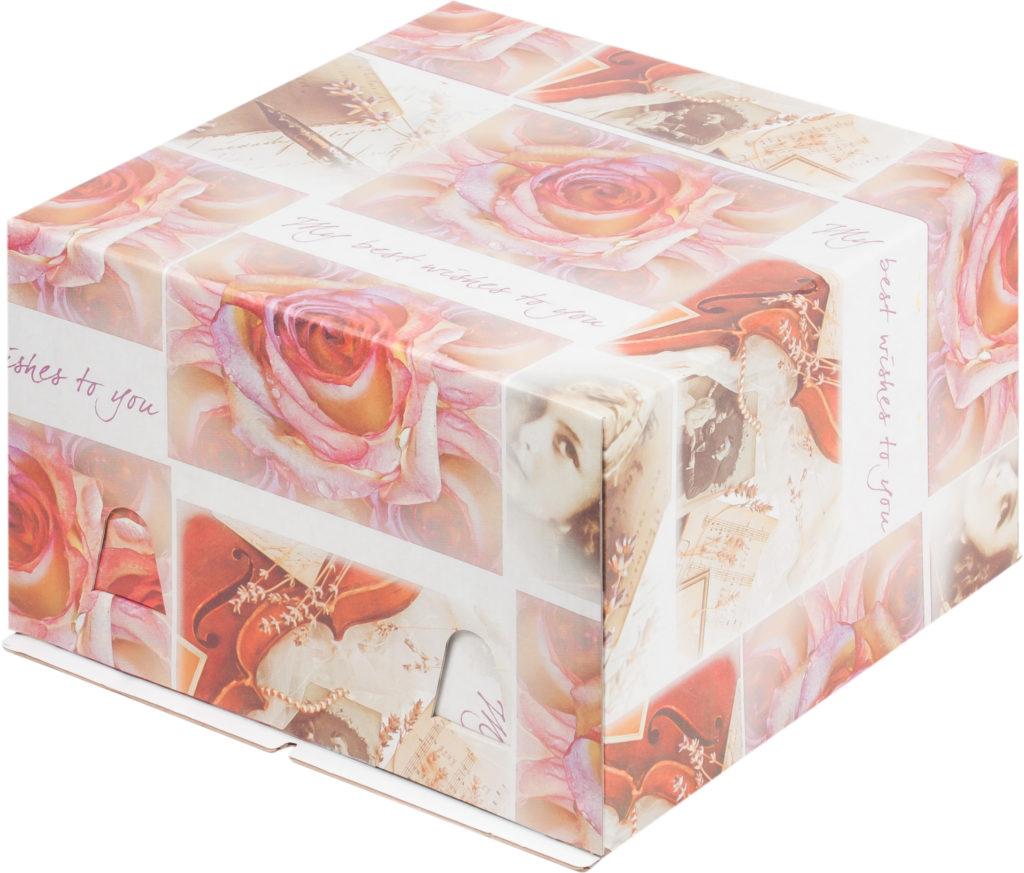 Коробка для тортов без окна, гофрокартон, печать в ассортименте, 300х300х190 / 300х300х300