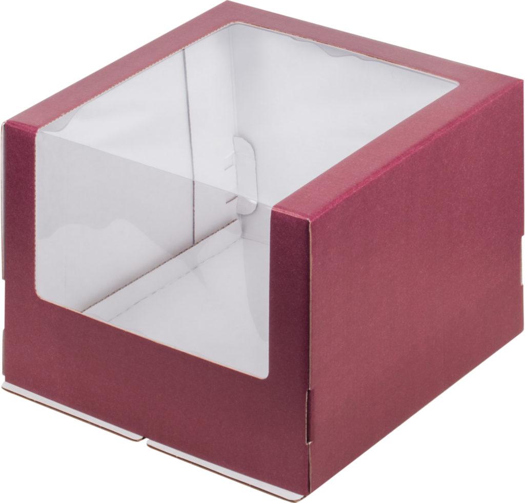 Коробка для тортов с увеличенным окном гофрокартон бордо/белая, 300х300х220