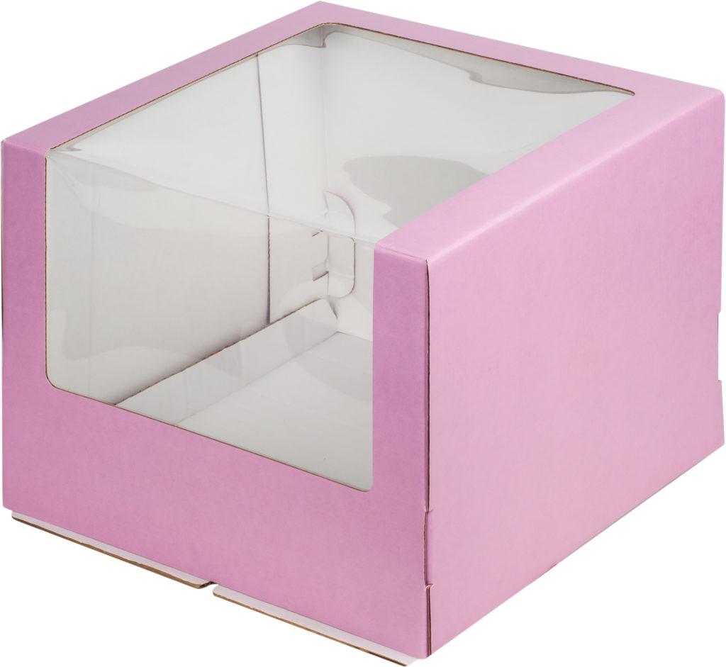 Коробка для тортов с увеличенным окном гофрокартон крафт/розовая/бордо, 260х260х210