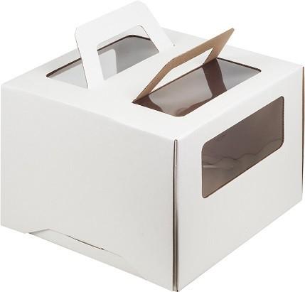 Коробка для торта с ручкой белая, гофрокартон, 305х305х205