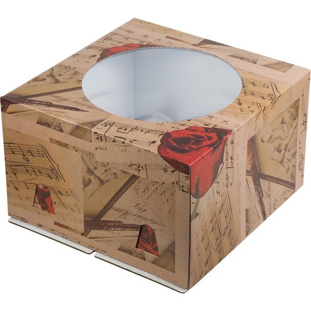 Коробка для тортов с окном, гофрокартон, печать в ассортименте