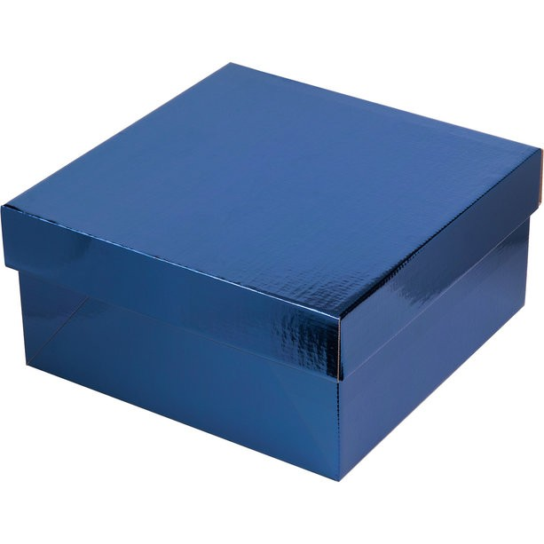 Коробка для торта без окна с крышкой, гофрокартон синяя/белая