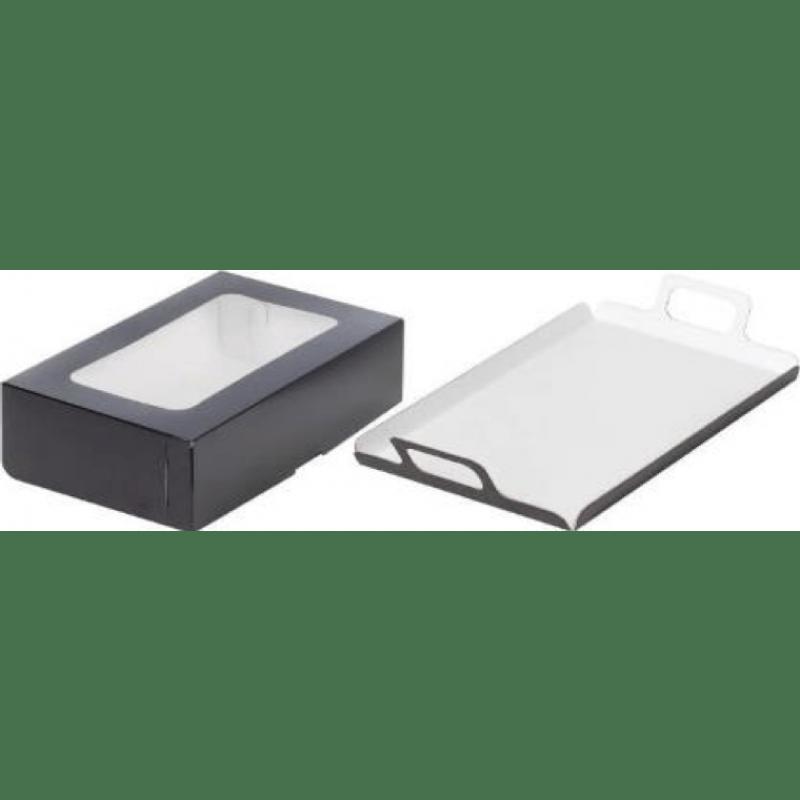 Коробка под канапе черная/белая 280х180х95 с окошком(подложка черно-белая 1,5мм)