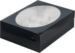 Коробка для 12 капкейков с ложементом ЧЕРНАЯ, 320х235х100