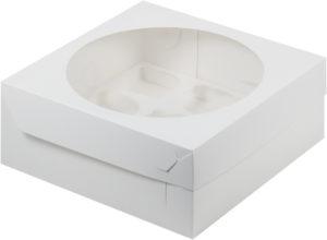 Коробка для 9 капкейков с ложементом БЕЛАЯ, 235х235х100