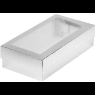 Коробка для кондитерских изделий с окошком, 210х100х55 СЕРЕБРО