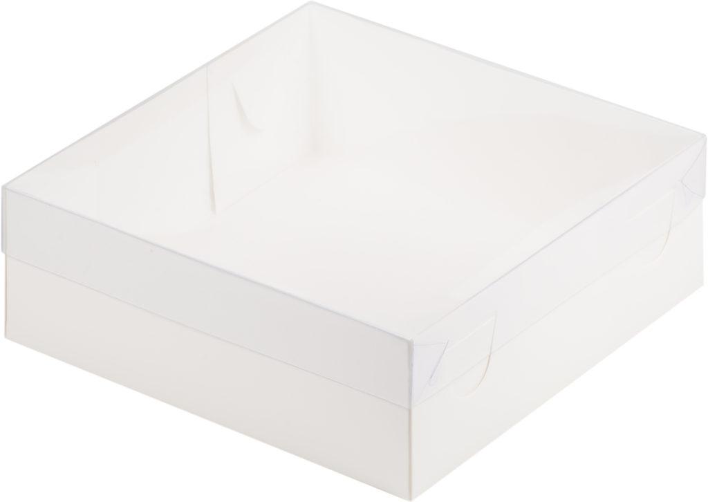 Коробка для зефира, тортов и пирожных С ПЛАСТИКОВОЙ КРЫШКОЙ ПРЕМИУМ БЕЛАЯ