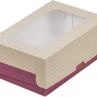 Коробка для тортов и пирожных с печатью СИРЕНЕВАЯ С ОКНОМ, 180x120x80