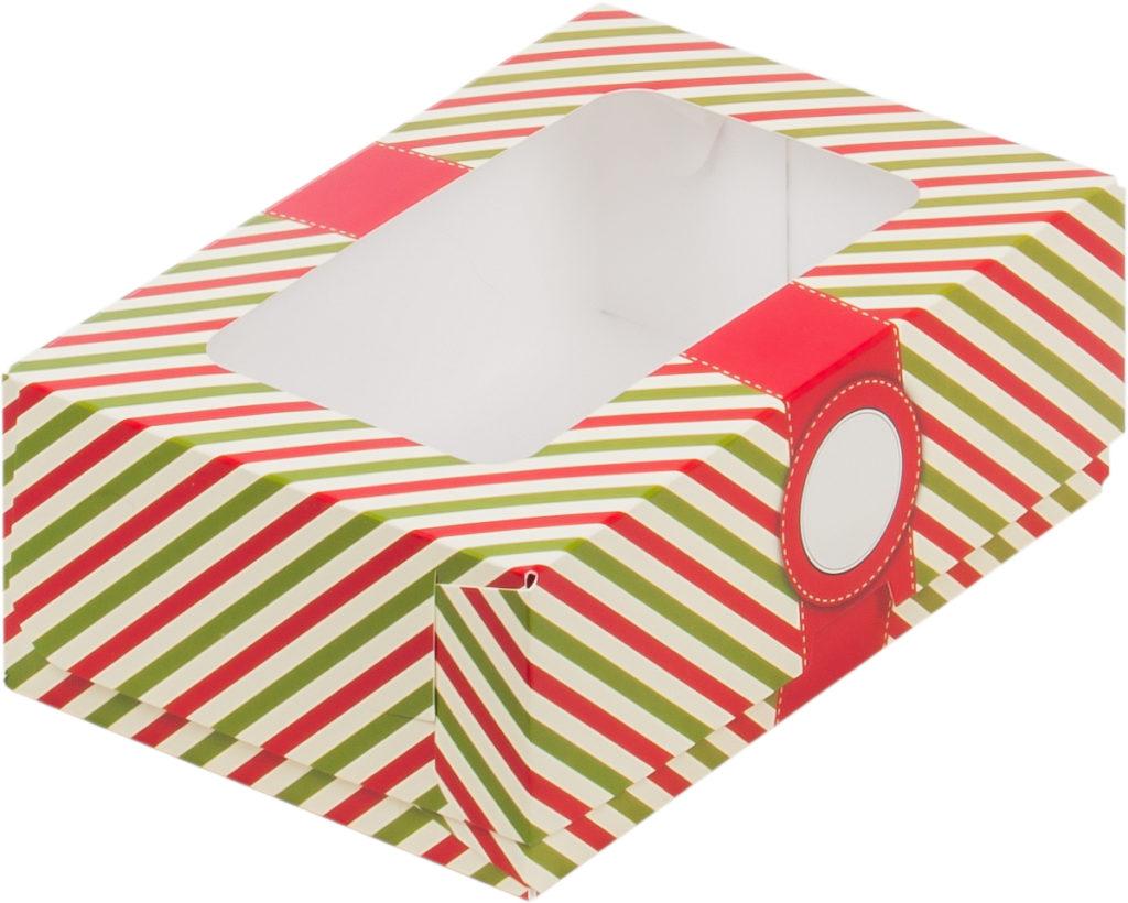 Коробка для тортов и пирожных с печатью КРАСНАЯ С ОКНОМ, 190x130x75