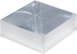 Коробка для зефира, тортов и пирожных С ПЛАСТИКОВОЙ КРЫШКОЙ ПРЕМИУМ СЕРЕБРО