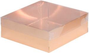 Коробка для зефира, тортов и пирожных С ПЛАСТИКОВОЙ КРЫШКОЙ ПРЕМИУМ ЗОЛОТО