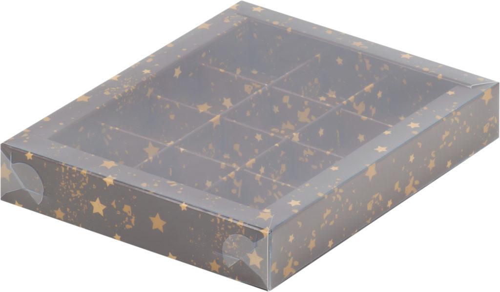 Коробка для конфет на 12шт с пластиковой прозрачной крышкой с печатью звезды, 190х150х30
