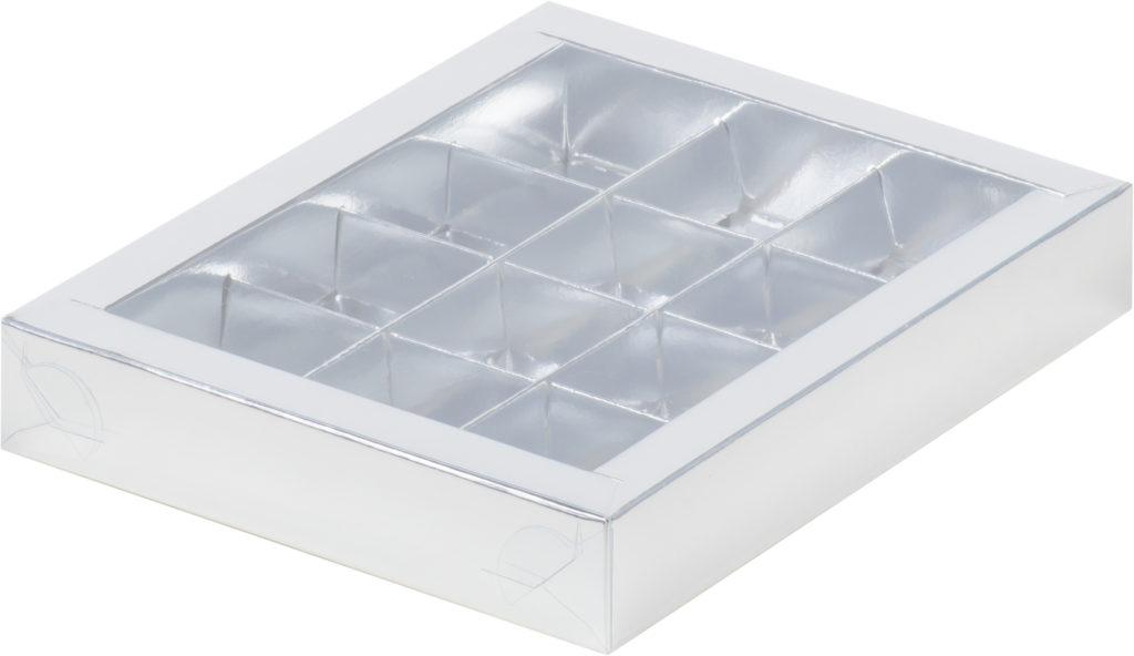 Коробка для конфет на 12шт с пластиковой прозрачной крышкой СЕРЕБРО, 190х150х30