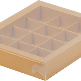 Коробка для конфет на 12шт с пластиковой прозрачной крышкой МАТОВОЕ ЗОЛОТО, 190х150х30