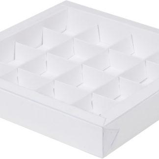 Коробка для конфет на 16шт с крышкой БЕЛАЯ, 200х200х30
