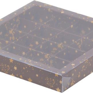 Коробка для конфет на 16шт с печатью звезды, 200х200х30