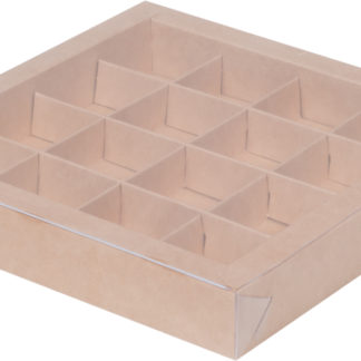 Коробка для конфет на 16шт с крышкой КРАФТ, 200х200х30