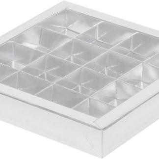 Коробка для конфет на 16шт с крышкой СЕРБРО, 200х200х30