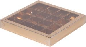 Коробка для конфет на 16шт с крышкой ЗОЛОТО, 200х200х30