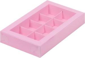 Коробка для конфет на 8шт с пластиковой прозрачной крышкой РОЗОВАЯ, 190х110х30
