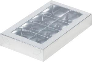 Коробка для конфет на 8шт с пластиковой прозрачной крышкой СЕРЕБРО, 190х110х30