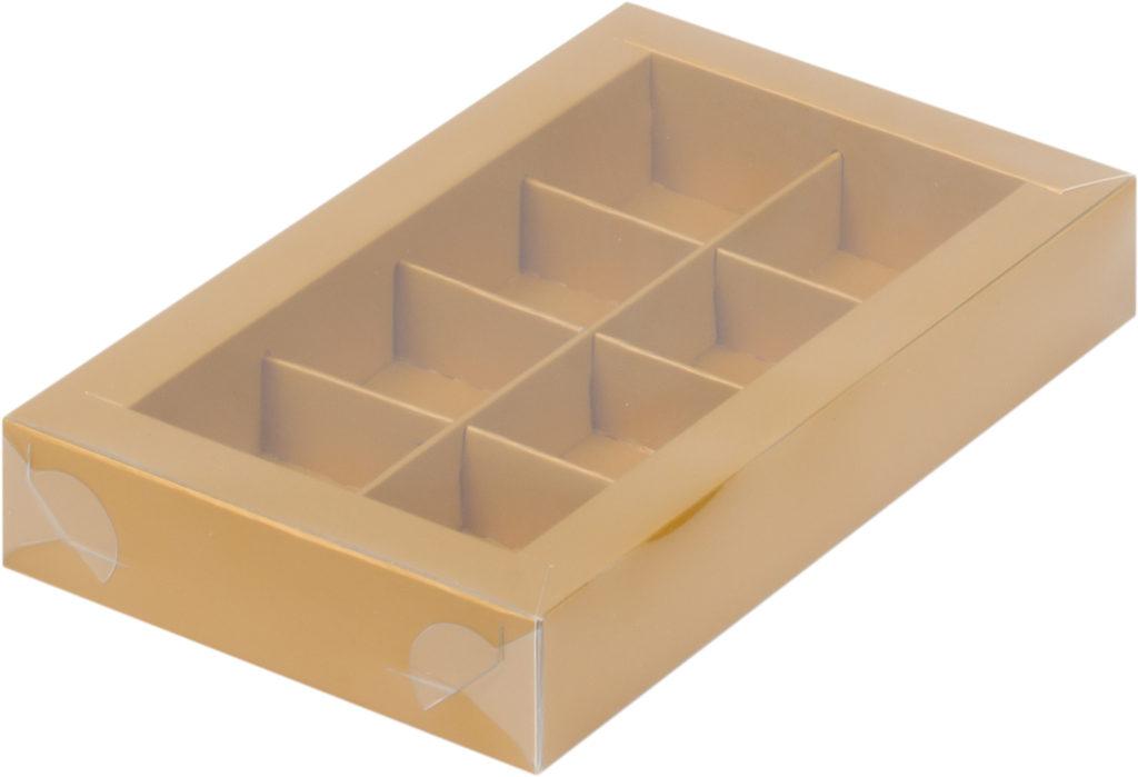 Коробка для конфет на 8шт с пластиковой прозрачной крышкой МАТОВОЕ ЗОЛОТО, 190х110х30