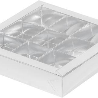 Коробка для конфет на 9шт с крышкой СЕРЕБРО, 155х155х30