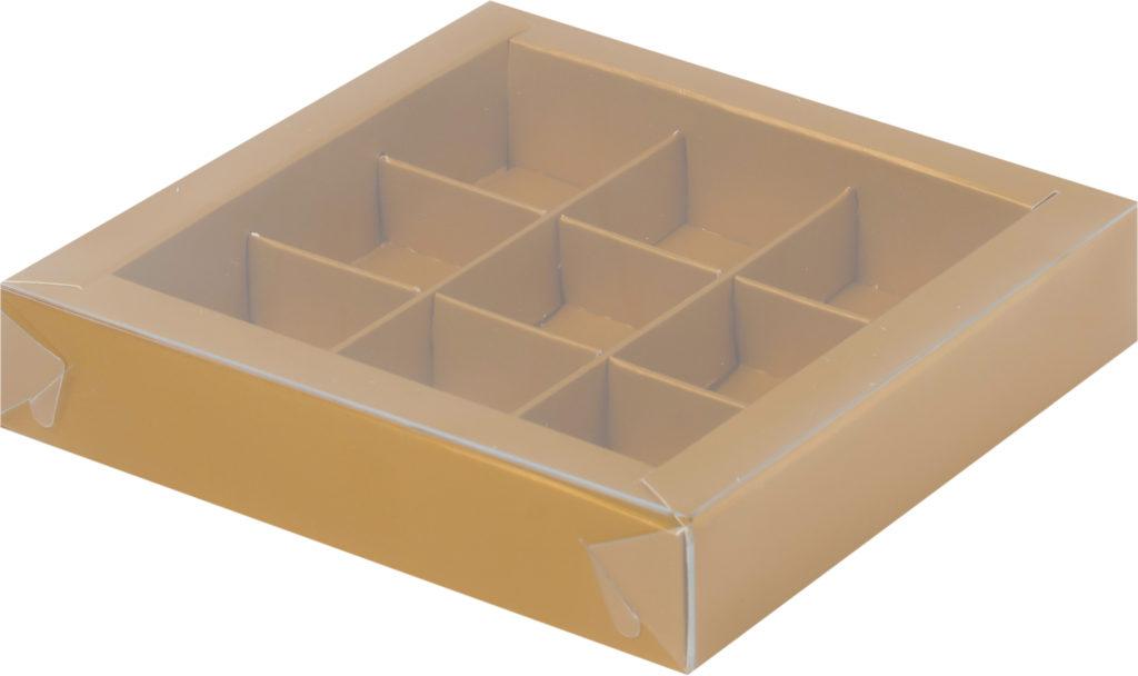 Коробка для конфет на 9шт с крышкой МАТОВОЕ ЗОЛОТО, 155х155х30